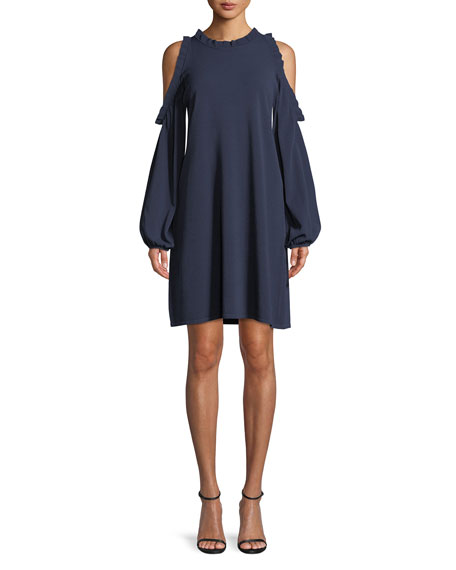 Ruffled Dress with Cold Shoulders