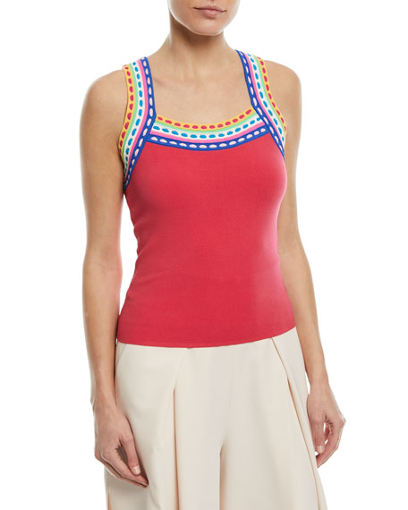 Contrast-Trim Scoop-Neck Tank Top