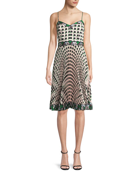 Milly Jill Twill Pleated Dress with Floral-Print
