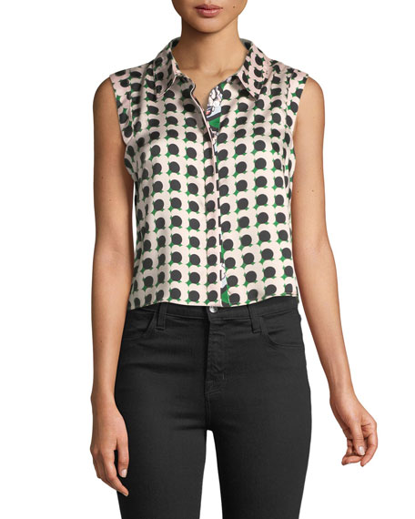 Milly Twill-Collared Pleated Top with Floral-Print