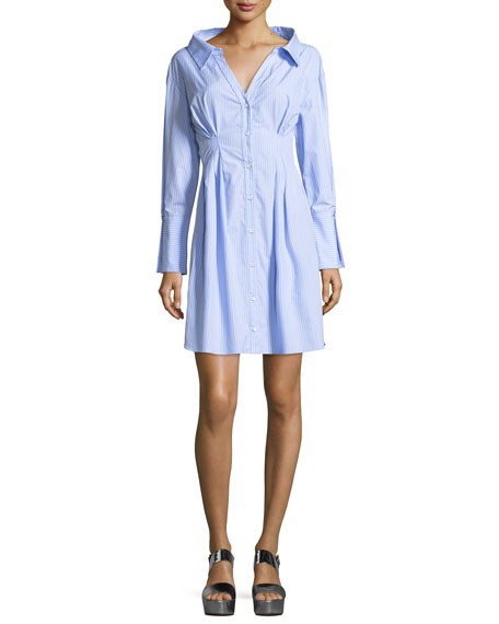 Vergie Button-Front Striped Shirtdress