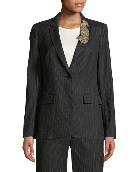 Revi Pinstripe Jacket with Bird Embellishment