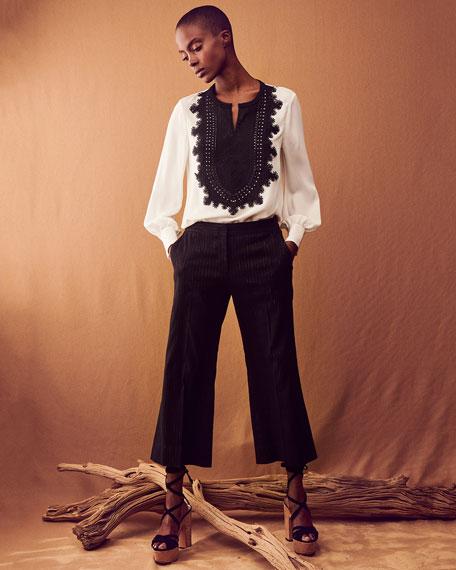 Kiera Pinstripe Cropped Pants