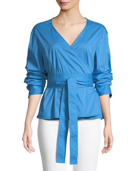 Jason Wu GREY Long-Sleeve Poplin Wrap Top
