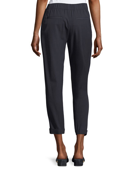 Self-Tie Side Strap Cropped jogger Pants
