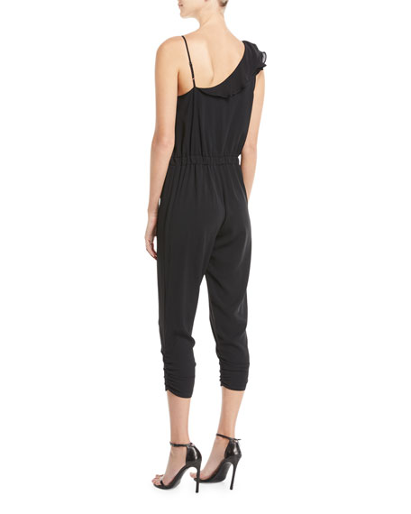 Addison Sleeveless Ruffle Cropped Straight-Leg Jumpsuit
