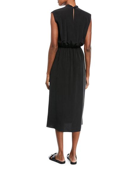 Draped Sleeveless Cross-Front Midi Dress