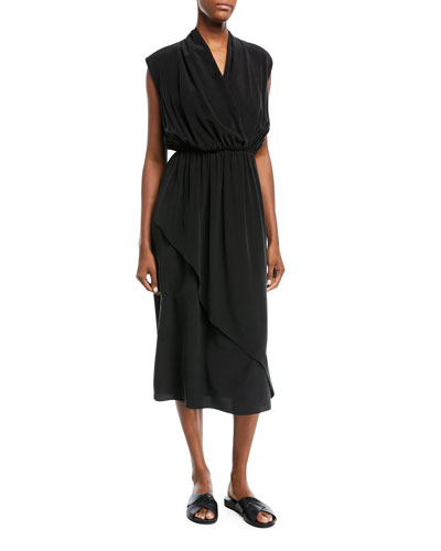 Draped Sleeveless Cross-Front Midi Dress