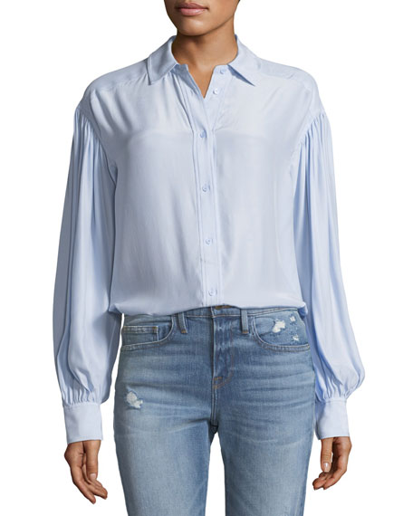 FRAME Full-Sleeve Button-Front Silk Shirt