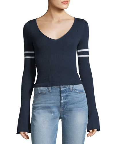 V-Neck Long Bell-Sleeve Merino Wool Sweater