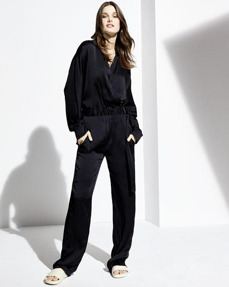 Cross-Front Long-Sleeve Jumpsuit