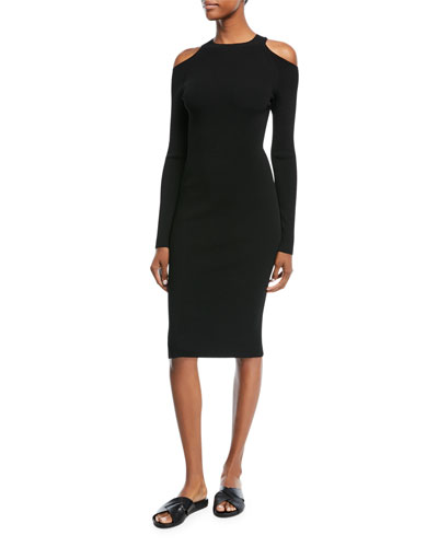 Cold-Shoulder Long-Sleeve Sheath Dress