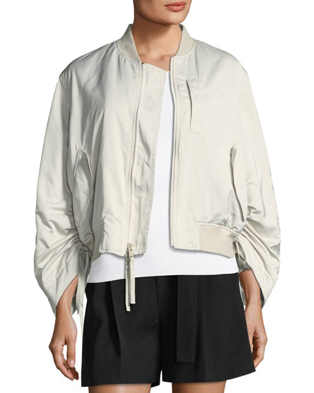 Ruched-Sleeve Parachute Bomber Jacket