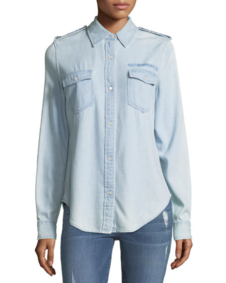 FRAME Military-Style Button-Front Denim Shirt