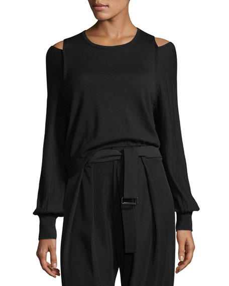 Superfine Merino Overlap Shoulder-Slit Top