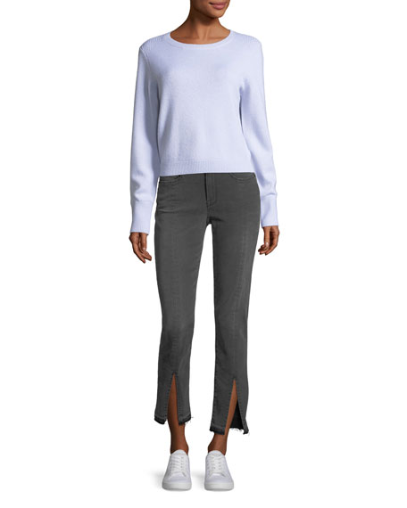 FRAME Crewneck Long-Sleeve Wool-Cashmere Cropped Sweater