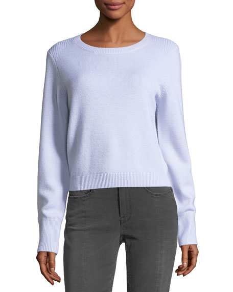 Crewneck Long-Sleeve Wool-Cashmere Cropped Sweater