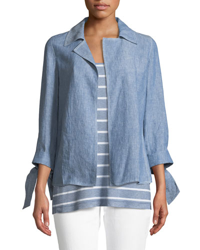 Grant Open-Front Italian-Linen Jacket