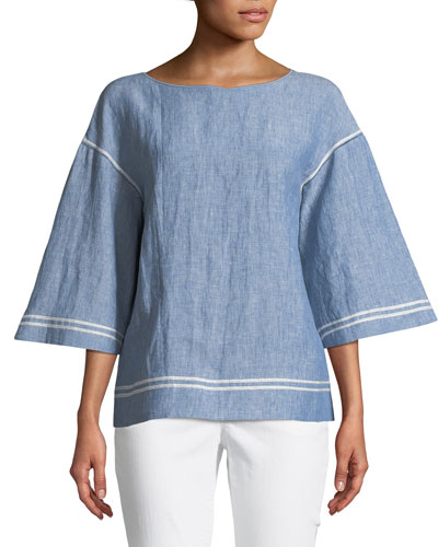 Gwendolyn Chambray Embroidered-Trim Blouse