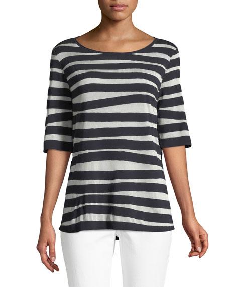 Lafayette 148 New York Bicolor Intarsia-Striped T-Shirt