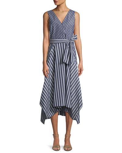 Demetria Regal-Striped Sleeveless Dress