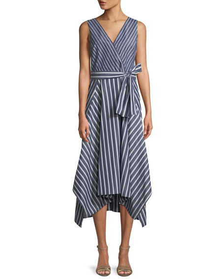 Lafayette 148 New York Demetria Regal-Striped Sleeveless Dress