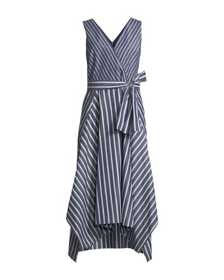 Demetria Regal-Striped Sleeveless Dress
