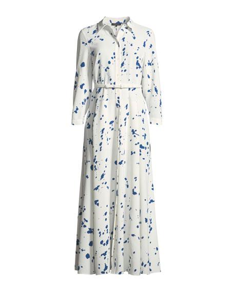 Siya Femme Flair Splatter-Print Long Dress