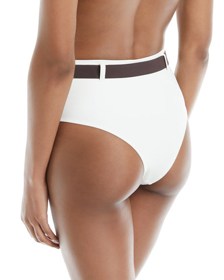 Josephine Belted High-Waist Swim Bikini Bottoms