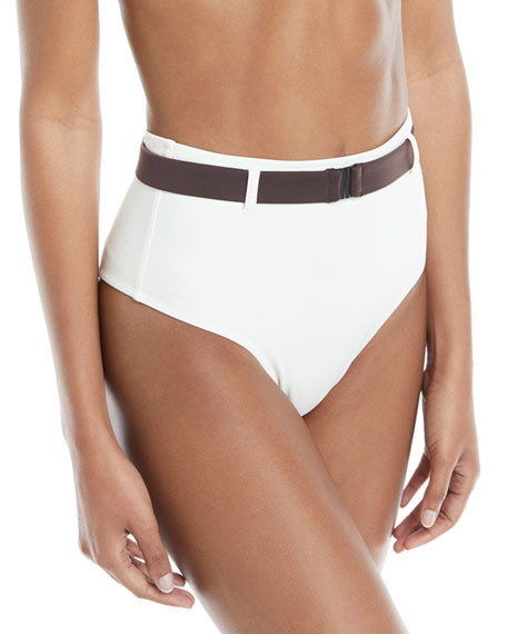 Solid and Striped Josephine Belted High-Waist Swim Bottoms