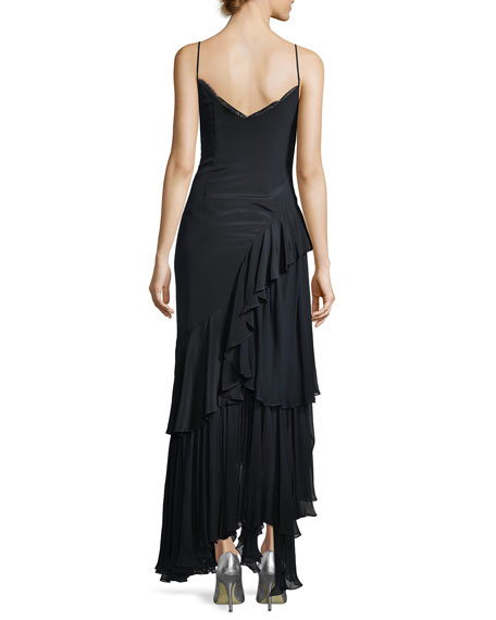 Aexandria V-Neck Slip Cocktail Dress with Embroidery
