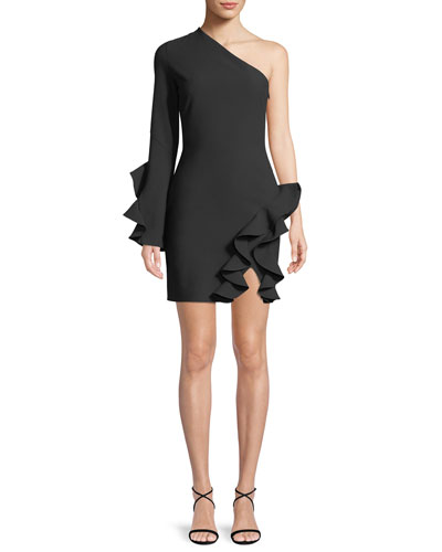 Pia One-Shoulder Long-Sleeve Cocktail Dress with Ruffles