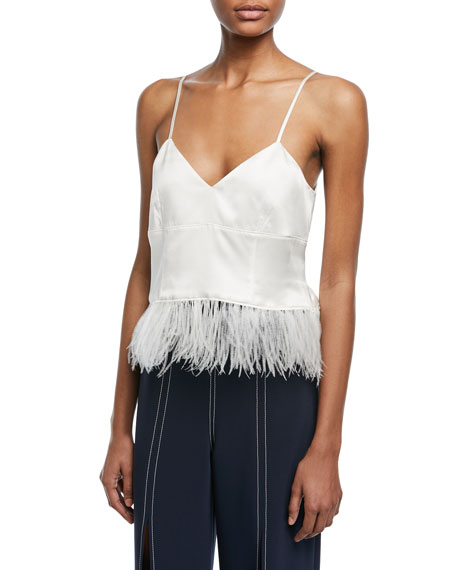 Narcissa V-Neck Silk Satin Tank with Feather Hem
