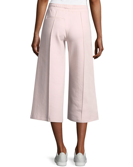 Drawstring Crop Culotte Pants with Pintucking