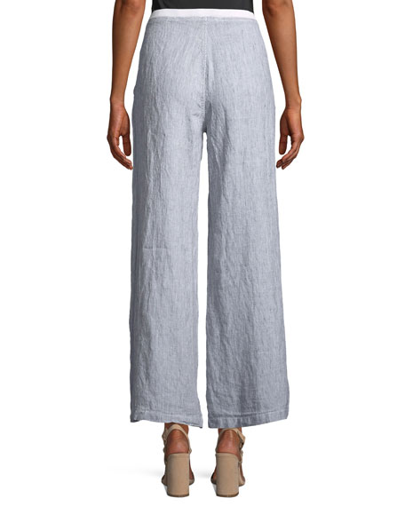 Ebba Pinstriped Linen Pants, Plus Size