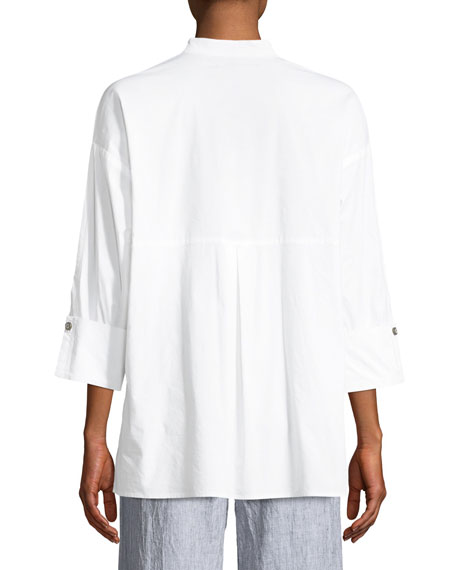 Moa High-Low Cotton/Silk Poplin Blouse