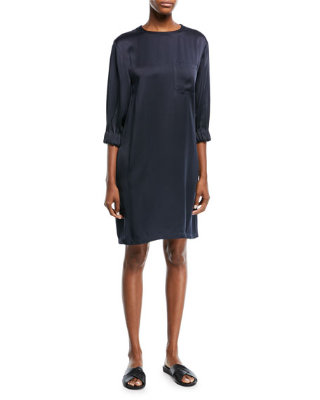 Crewneck 3/4-Sleeve Gathered Satin Shift Dress