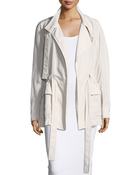 Drapey Wrap-Front Belted Jacket
