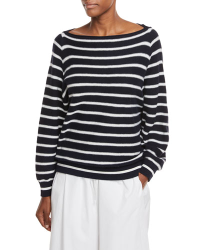Boat-Neck Striped Waffle-Knit Pullover