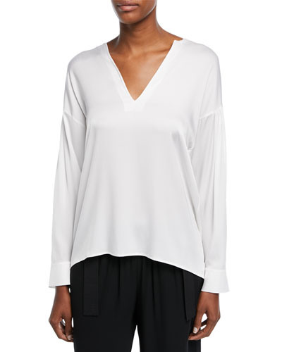 Ruched-Back Split-Neck Silk Blouse