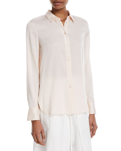Slim-Fit Button-Front Silk Blouse