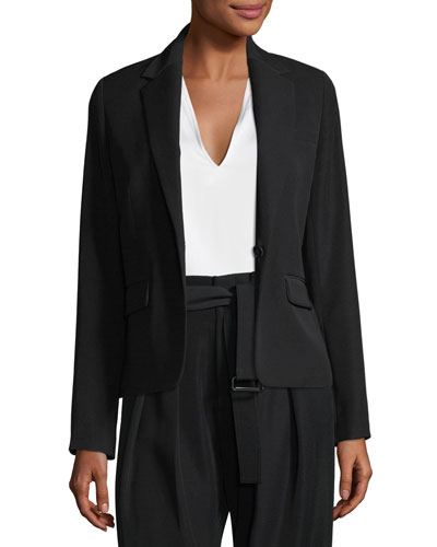 Single-Breasted Crepe Blazer