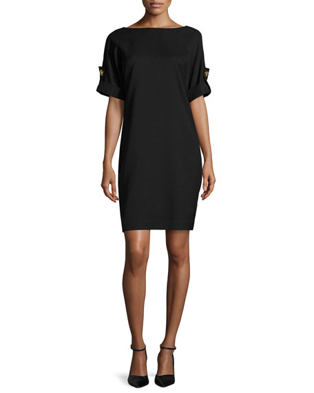 Short-Sleeve Stretch Jersey Cocktail Dress