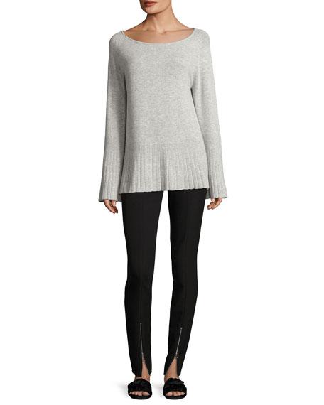 Clarette Boat-Neck Wide-Sleeve Sweater
