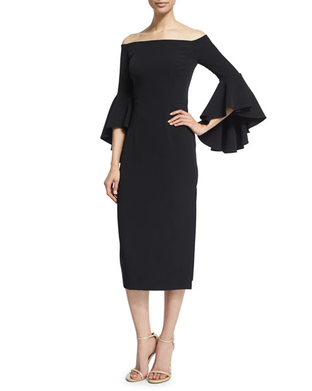 Milly Selena Off-The-Shoulder Midi Dress, Black