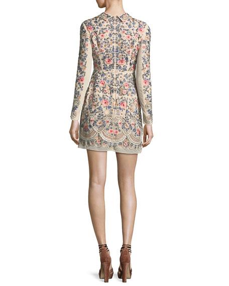 Whisper Prom Long-Sleeve Mini Dress