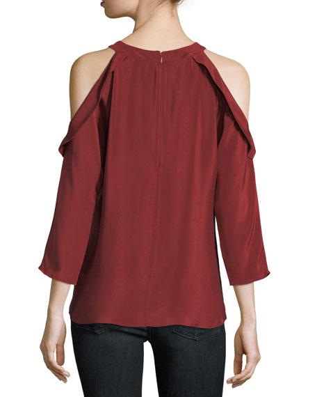 Vivica Silk Crepe Cold-Shoulder Top