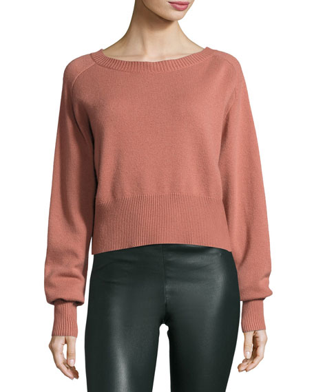 Theory Boat-Neck Long-Sleeve Relaxed Cashmere Sweater