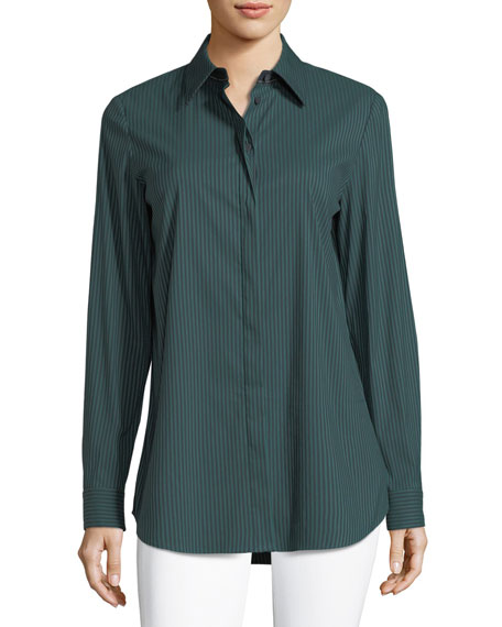 Long-Sleeve Button-Front Cherrywood Striped Shirt