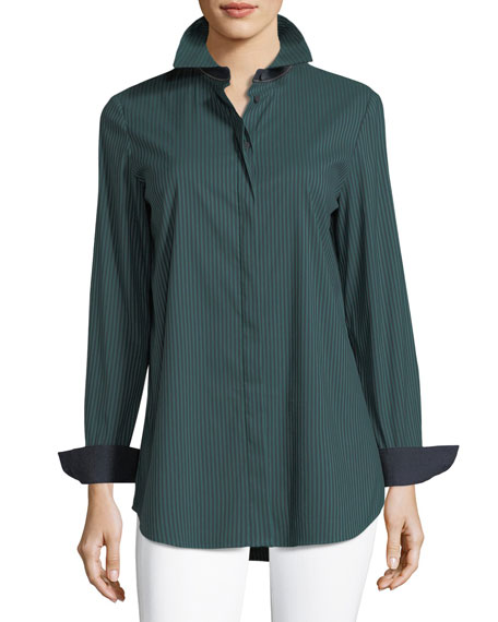 Lafayette 148 New York Long-Sleeve Button-Front Cherrywood